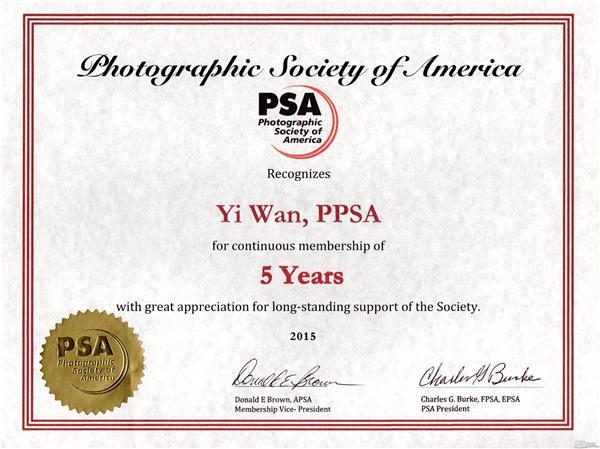 PPSA(影艺精通会士)名衔证书